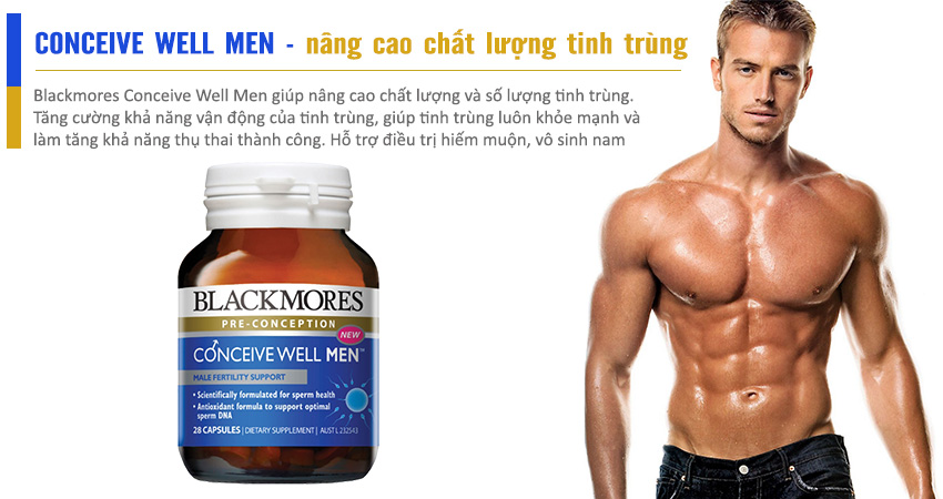Blackmores Conceive Well Men nâng cao khả năng sinh sản của nam giới