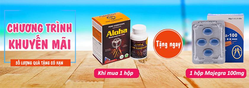 Mua 1 hộp Đông trùng hạ thảo Aloha được tặng ngay 1 hộp Majegra 100mg