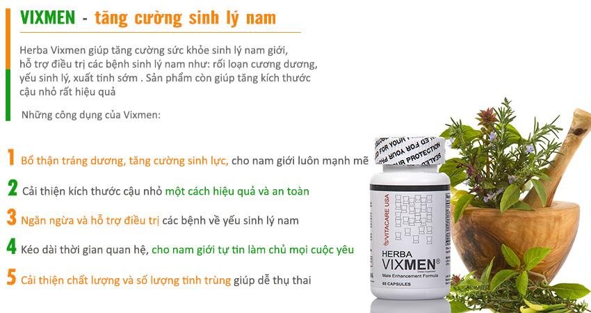 Công dụng sản phẩm Viên uống Vixmen