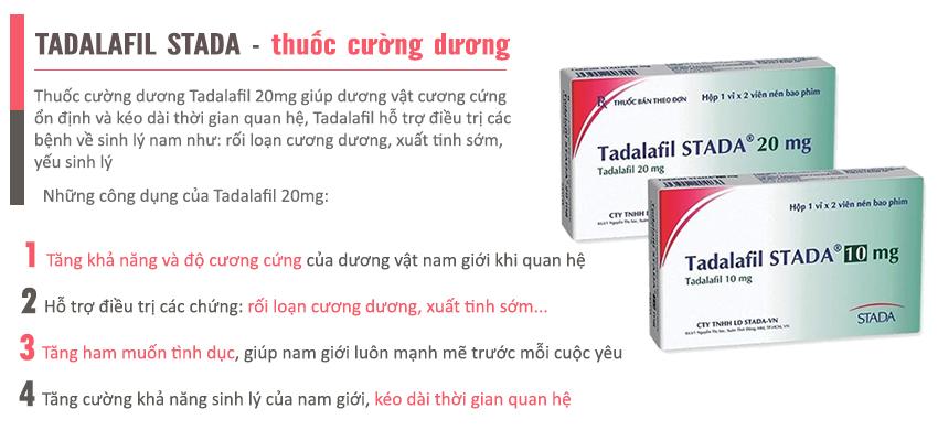 Công dụng sản phẩm Tadalafil Stada