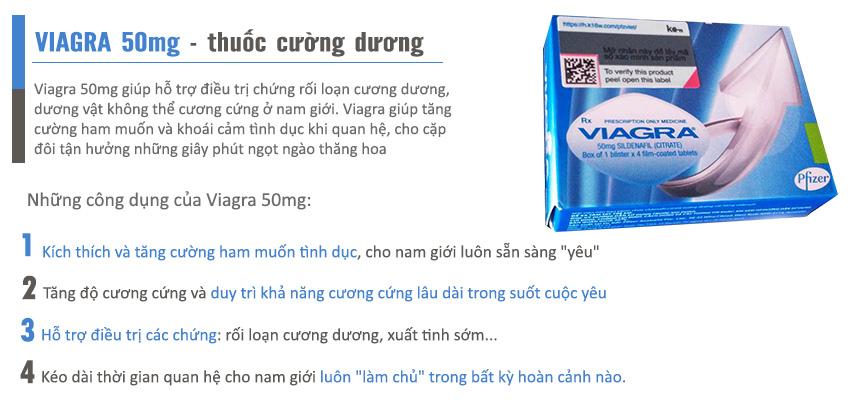 Công dụng thuốc cường dương Viagra 50mg