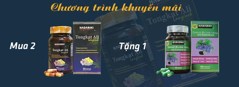 Khi mua 2 hộp Hadariki Tongkat Ali quý khách hàng sẽ được tặng ngay 1 hộp Hadariki Ginkgo Biloba 120mg