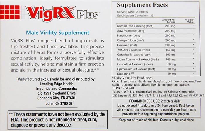 Hàm lượng các thành phần có trong Vigrx Plus