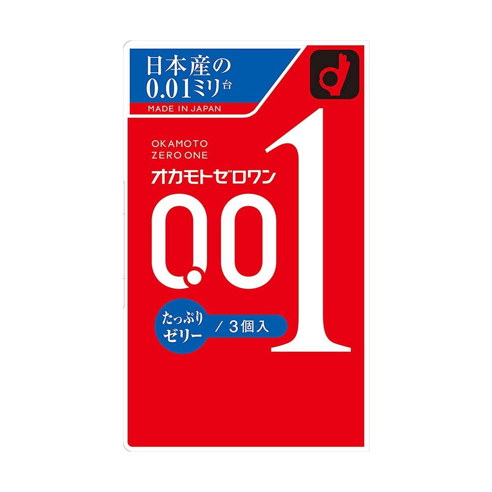Bao cao su mỏng 0.01mm có gai Nhật Bản Okamoto Zero One Plenty Of Jelly (Hộp 3 cái)