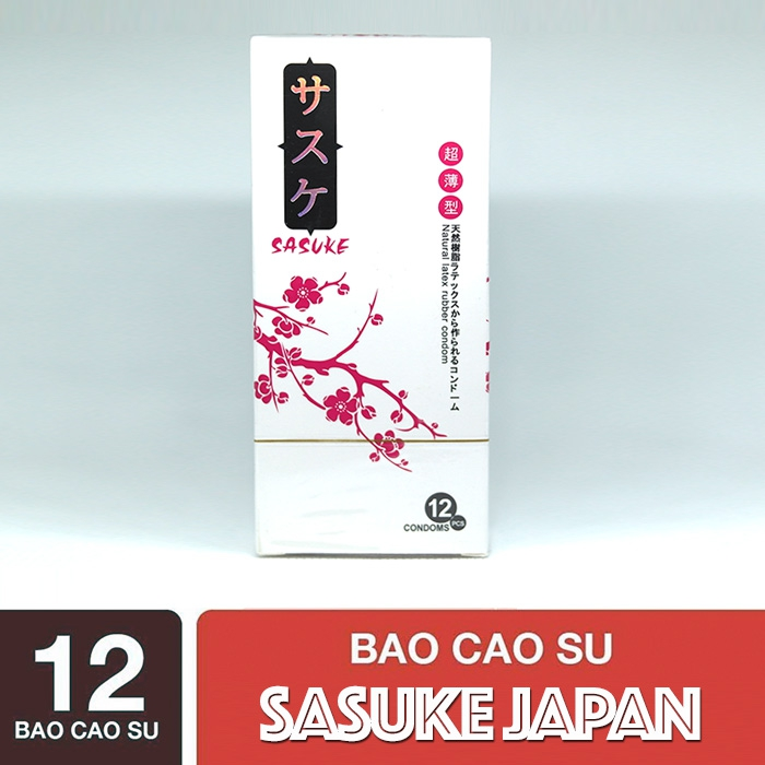Bao cao su Sasuke siêu mỏng hạt nổi Nhật Bản - Hộp 12 cái