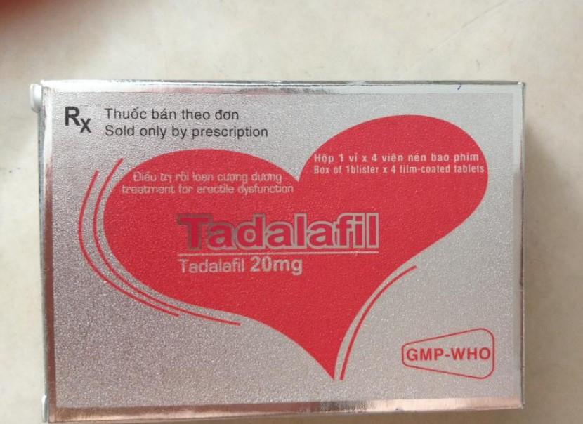 Thuốc cường dương Tadalafil 20mg, hộp 4 viên