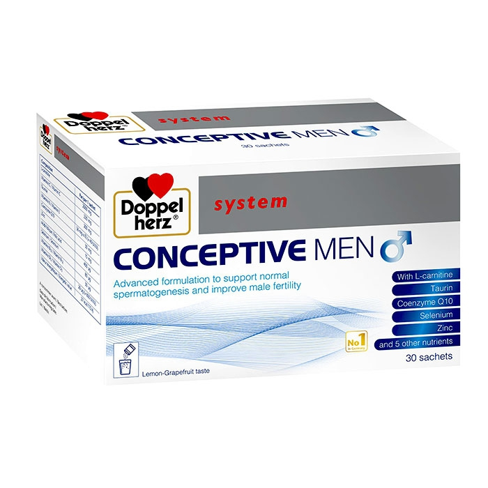 Tpbvsk giúp cải thiện chất lượng tinh trùng Doppelherz System Conceptive Men, Hộp 30 gói