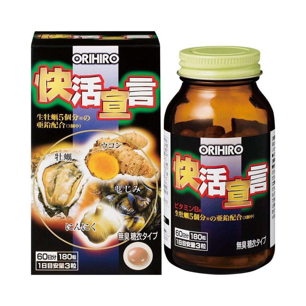 Viên uống tinh chất hàu, nghệ, tỏi Orihiro Nhật Bản giúp bổ thận tráng dương (Chai 180 viên)